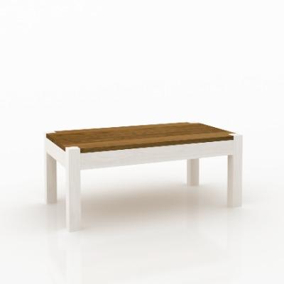 Mesa de living central rectangular Astro Blanco / castaño