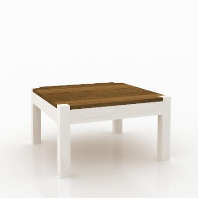 Mesa de living central cuadrada Astro Blanco / castaño