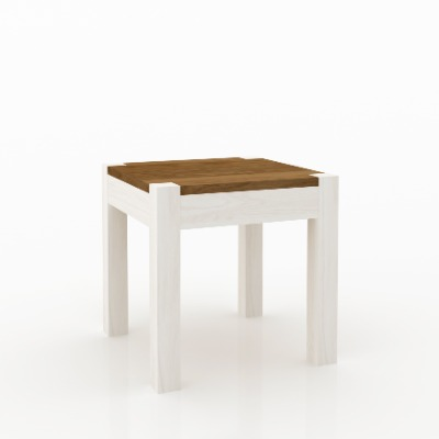 Mesa de living lateral cuadrada Astro Blanco / castaño
