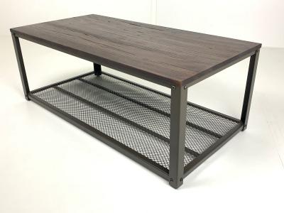 Mesa de living central industrial JW 120 tapa de madera