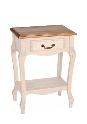 Mesa de luz 725 Luis XV 1 cajón color Blanco / Rústico
