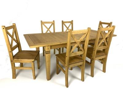 Comedor Salvador extensible con 6 sillas color rústico