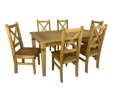 Comedor Salvador fijo con 6 sillas color rústico