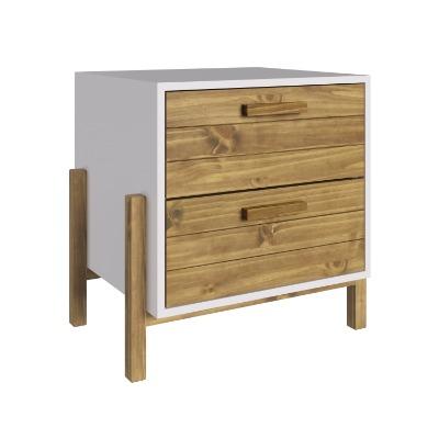 Mesa de luz fusión con 2 cajones en madera maciza
