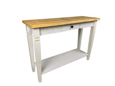 Mesa de arrimo Salvador con cajón color Blanco / rústico