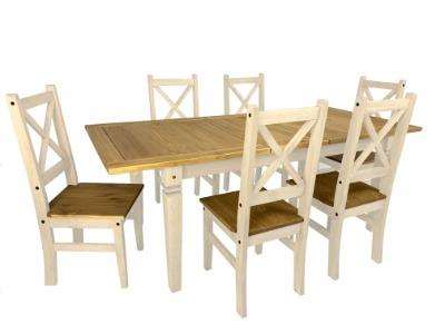 Comedor Salvador extensible con 6 sillas color Blanco/rústico