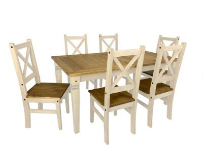 Comedor Salvador fijo con 6 sillas color Blanco / rústico
