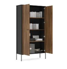Biblioteca Mallorca con 2 puertas enteras color Negro/madera