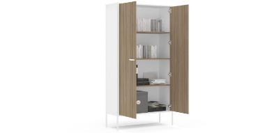 Biblioteca Mallorca con 2 puertas enteras color Blanco/madera