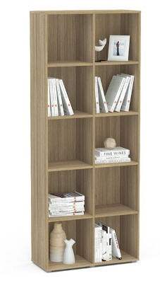 Biblioteca Caracol 10 reparticiones color madera