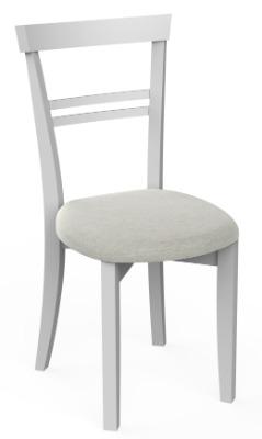 Silla de comedor Línea color blanco con asiento tapizado
