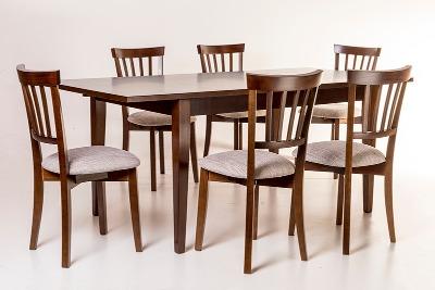 Comedor rectangular fijo con 6 sillas Rubí
