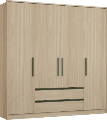 Placard 3276 LUXUS 4 puertas batientes y 4 cajones color nogueira