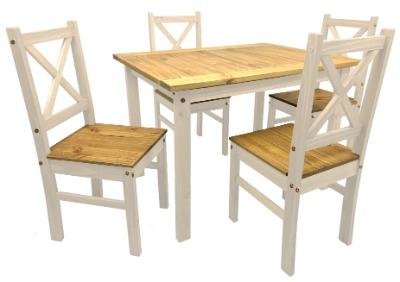 Comendor Santos con 4 sillas color blanco con rústico
