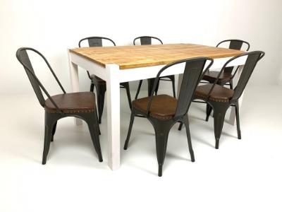 Comedor rectangular con 6 sillas Tolix asiento tapizado