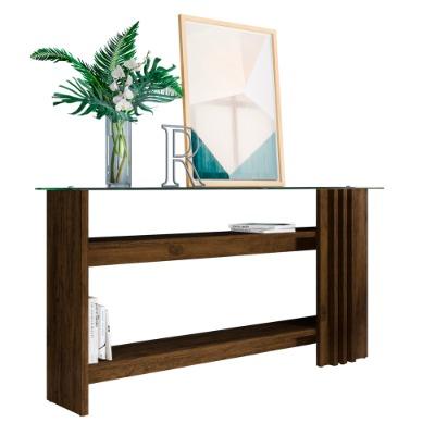 Mesa de arrimo FRIZZ con tapa de vidrio Color Savana