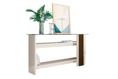 Mesa de arrimo FRIZZ con tapa de vidrio Color Off White/Savana