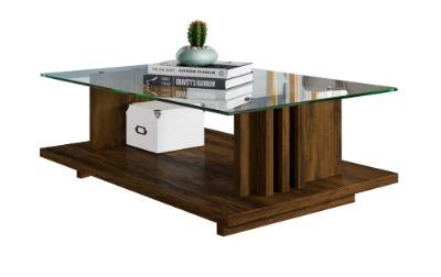 Mesa de centro FRIZZ con tapa de vidrio. Color Savana