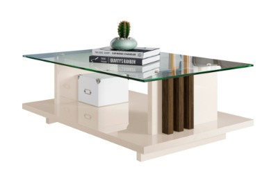 Mesa de centro FRIZZ con tapa de vidrio. Color Off White/Savana