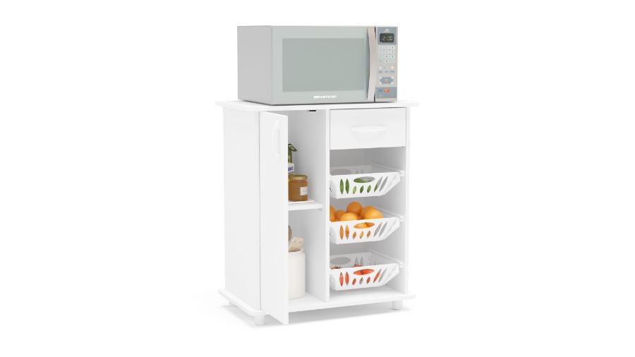 Rack para microondas y frutero SINOP. Puerta, cajón y canastos.