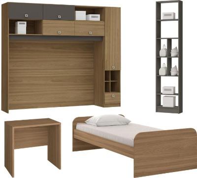 Dormitorio 0670 VERSATIL color Freijó/gris CAMA+ESCRITORIO+BIBLIOTECA