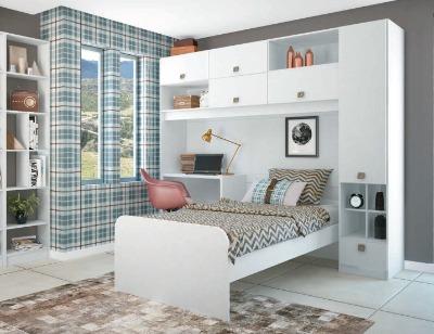 Dormitorio 0670 VERSATIL color Blanco + CAMA+ESCRITORIO+BIBLIOTECA